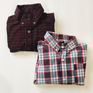 2 Plaid Long Sleeve Button Down Shirts Size 5/6